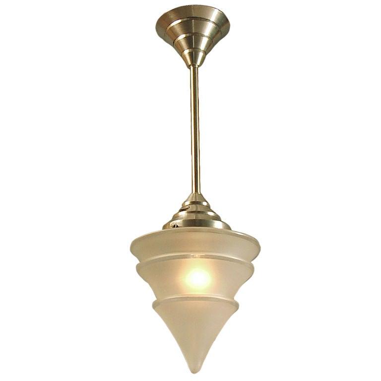 French Art Deco Moderne Ceiling Light Pyramiding Motifs
