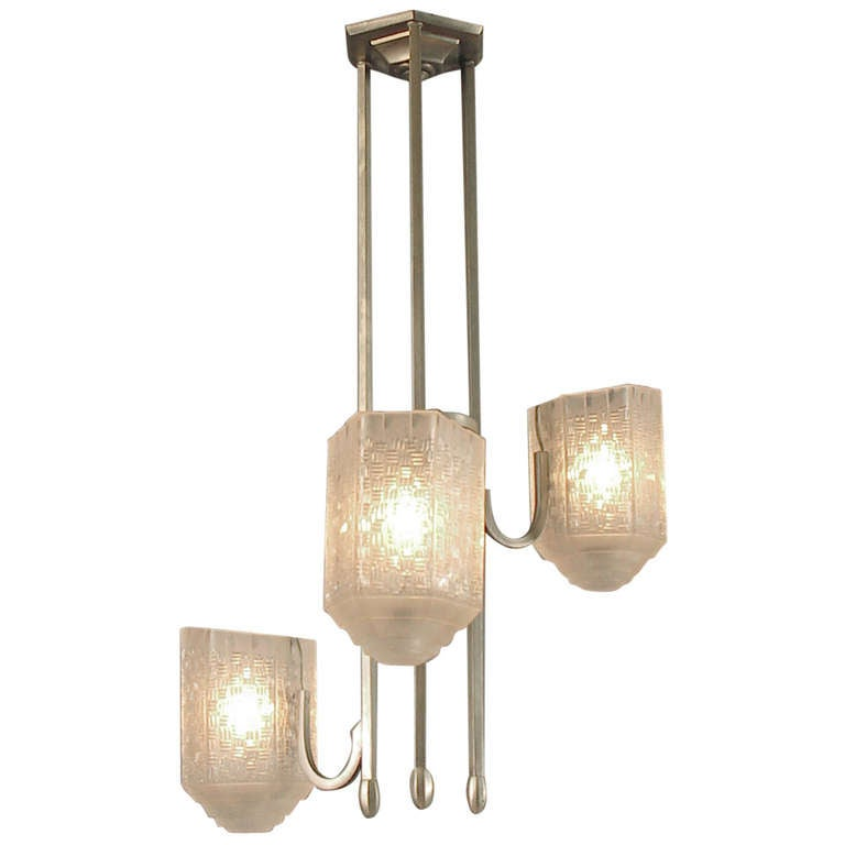 Asymmetrical French Art Deco Modernist Chandelier With