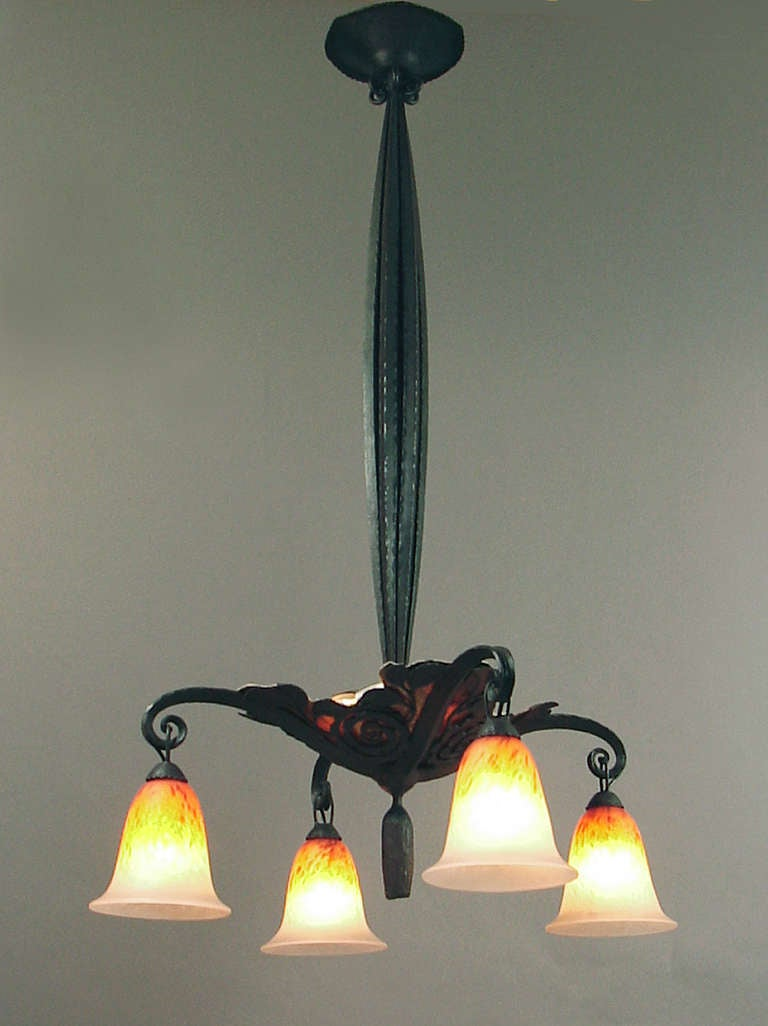 An Elegant French Art Deco Wrought Iron Chandelier With