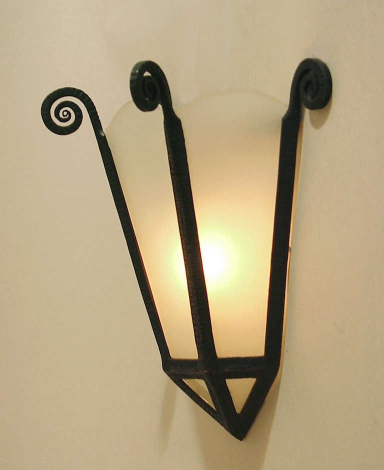 Art Deco Glass Wall Sconces : French Art Deco Wrought Iron/Frosted Glass Panel Wall Sconces at 1stdibs