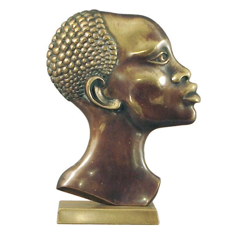 French Art Deco African Warrior Bronze Sculpture Cum Lamp