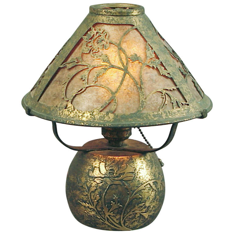 bronze arts and crafts table lamp with mica inserts by silver crest at. Black Bedroom Furniture Sets. Home Design Ideas