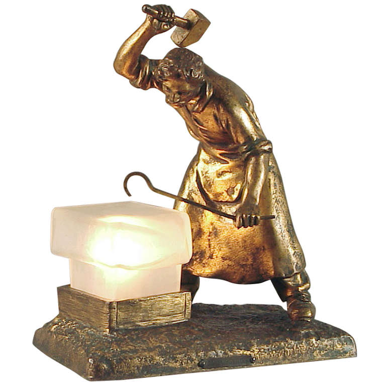 French Art Deco Table Lamp Ferronnier Iron Worker And