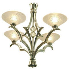 French Art Deco Chandelier, Nickeled Bronze with d'Avesn Shades