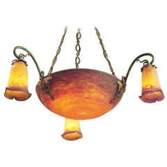 Large French Art Nouveau Art Glass Chandelier by Muller Freres