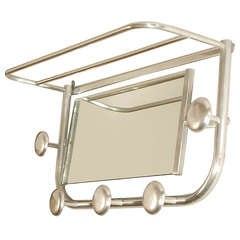 Aluminum French Art Deco Coat Rack with Mirror