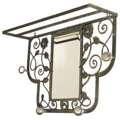 French Art Deco Wrought Iron and Chrome Hall Tree/Coat Rack