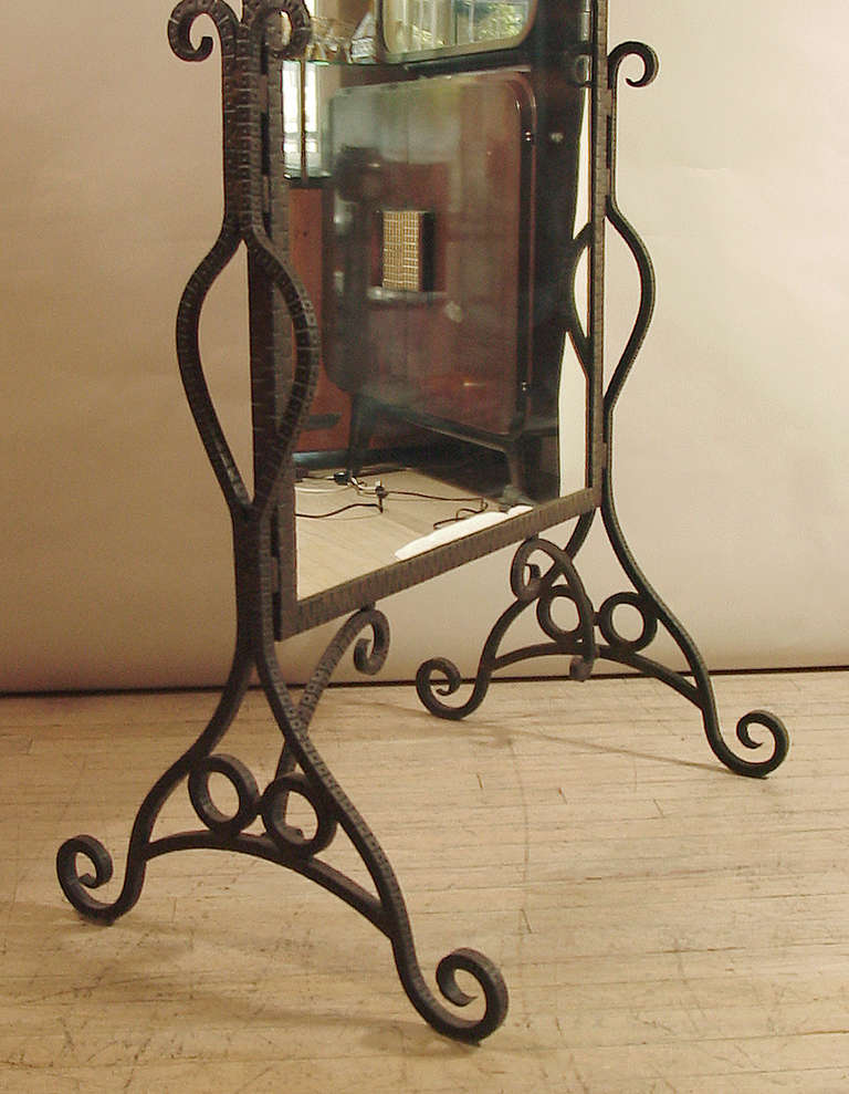 French Art Deco Wrought Iron Standing Mirror At 1stdibs