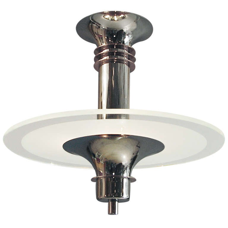 The Last Word In A French Art Deco Modernist Chandelier At