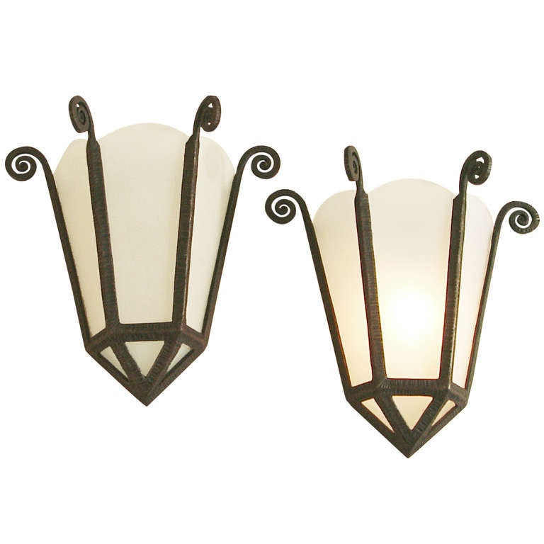 Wrought Iron Sconces Wall Decor : French Art Deco Wrought Iron/Frosted Glass Panel Wall Sconces at 1stdibs