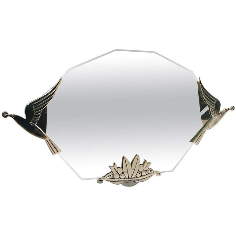 Wall Art Mirror Birds : Exceptional art deco wall mirror with birds and stylized