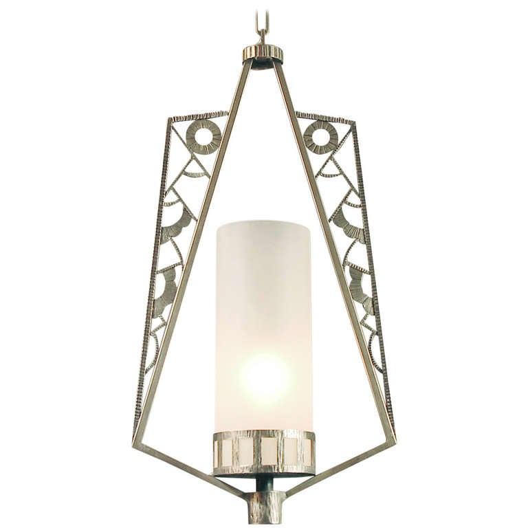 Art Deco Foyer Lighting : French art deco nickel plated iron entryway hallway indoor