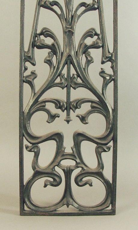 Decorative Art Nouveau Cast Iron Window Or Door Grill At