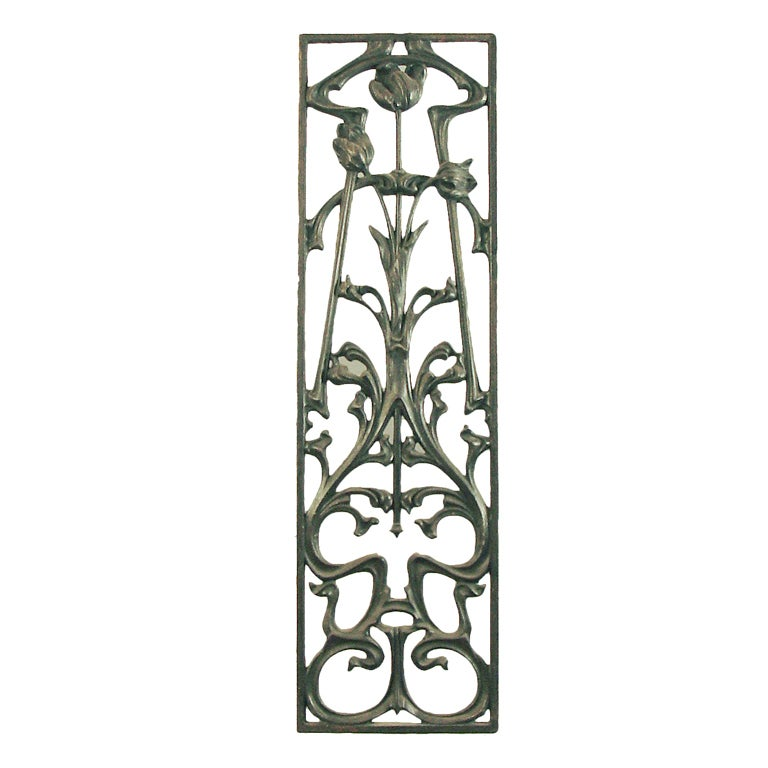 Decorative Art Nouveau Cast Iron Window Or Door Grill At