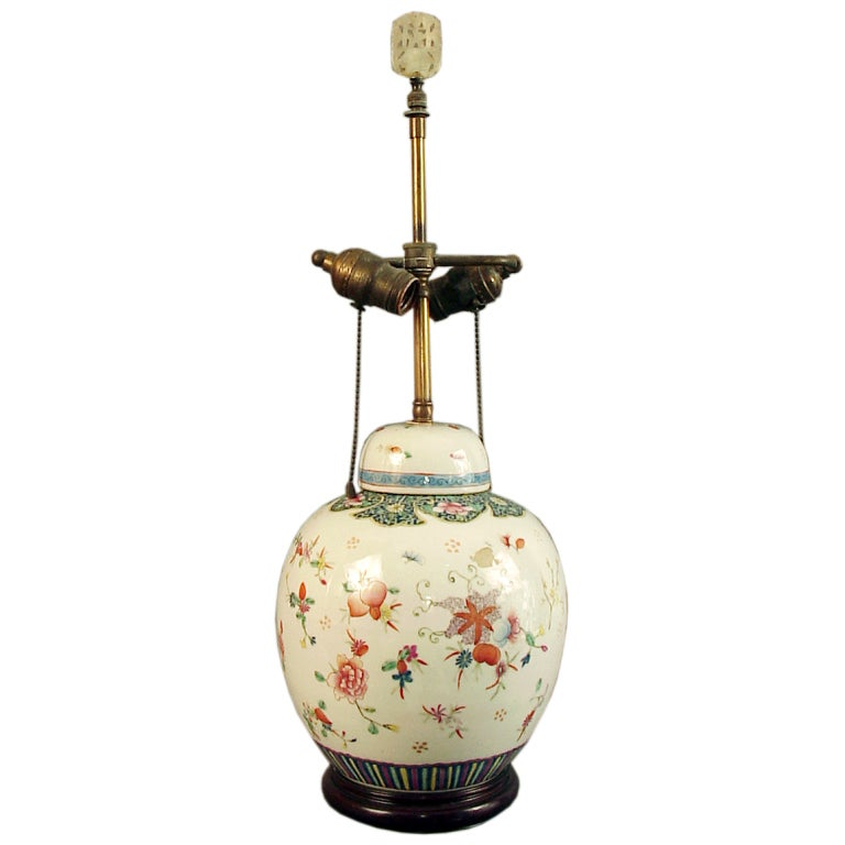 Highly Decorated Chinese Ginger Jar Lamp Base On Wood