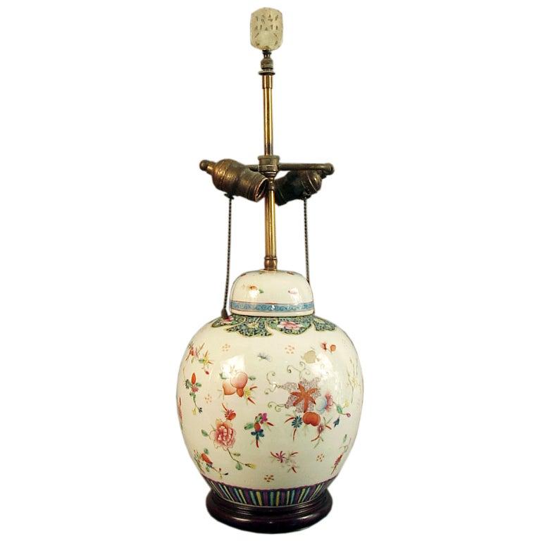 Mid century ginger jar lamp pair at 1stdibs - Highly Decorated Chinese Ginger Jar Lamp Base On Wood