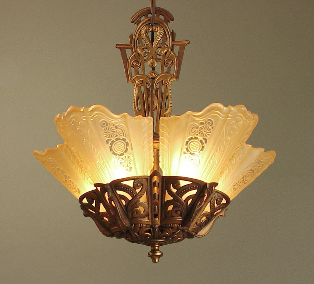 Lightolier Ring Chandelier At 1stdibs: (Truly) Gorgeous Art Deco Chandelier By Lightolier, Gold