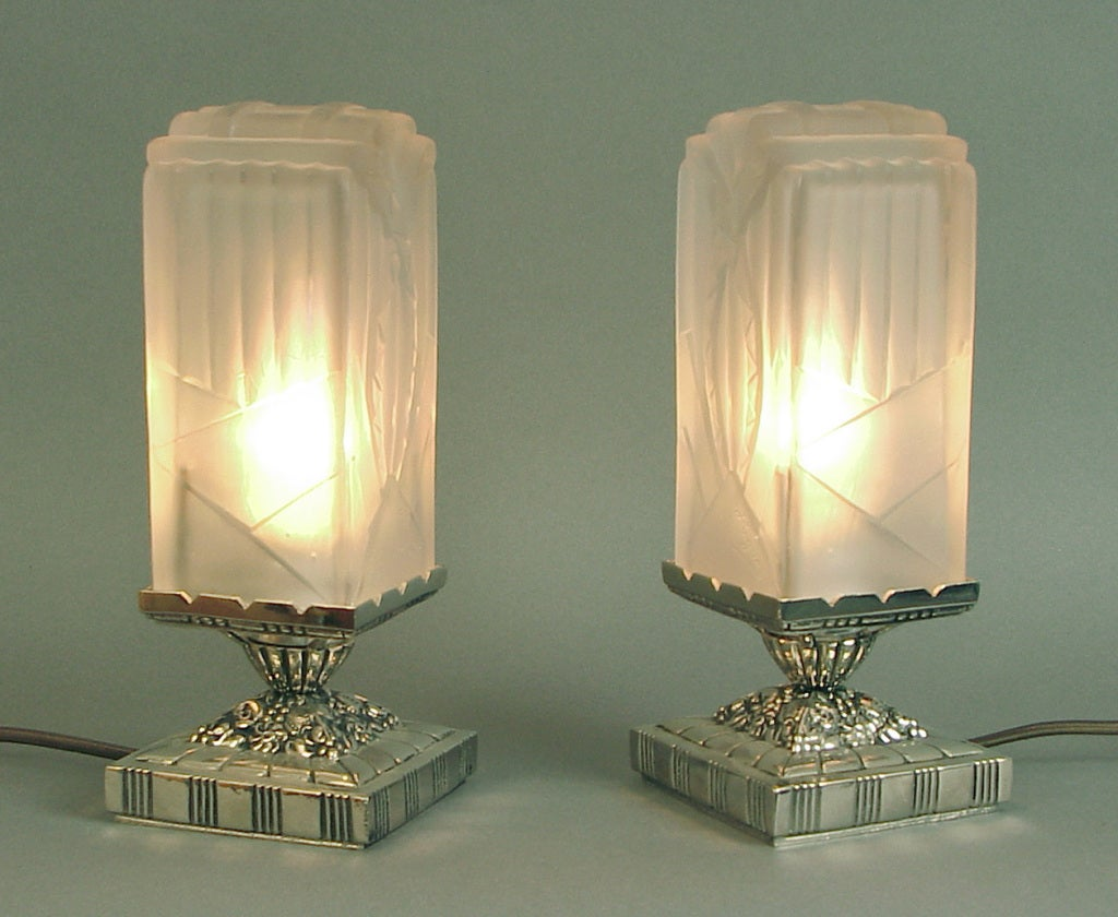 french art deco table vanity lamps by hugue et moi at