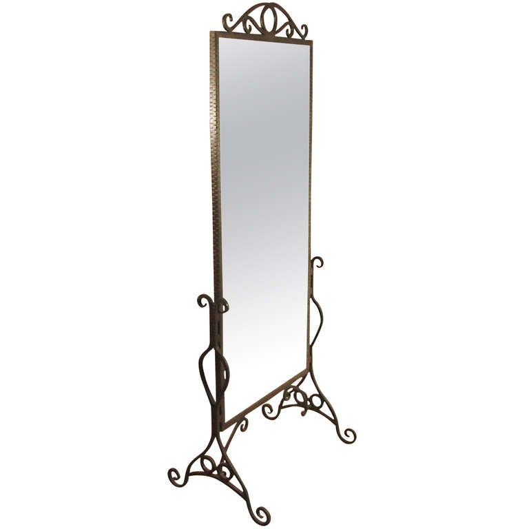 French art deco wrought iron standing mirror at 1stdibs for Wrought iron mirror