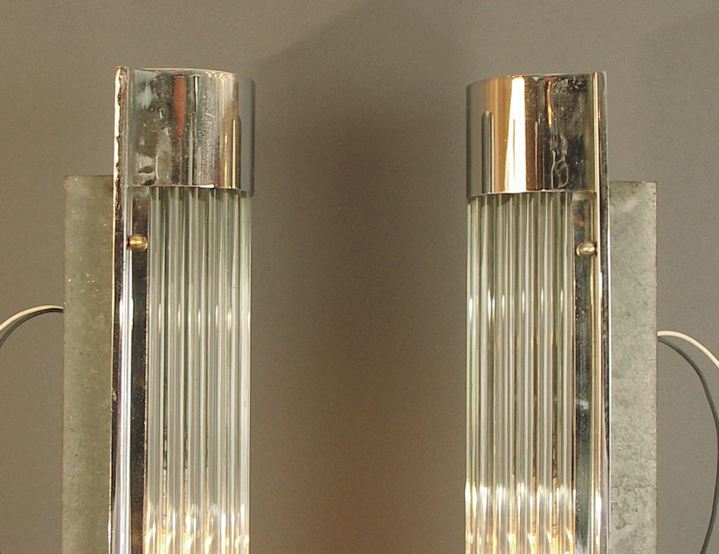 Huge American Art Deco/Modernist Glass Rod Wall Sconces at 1stdibs