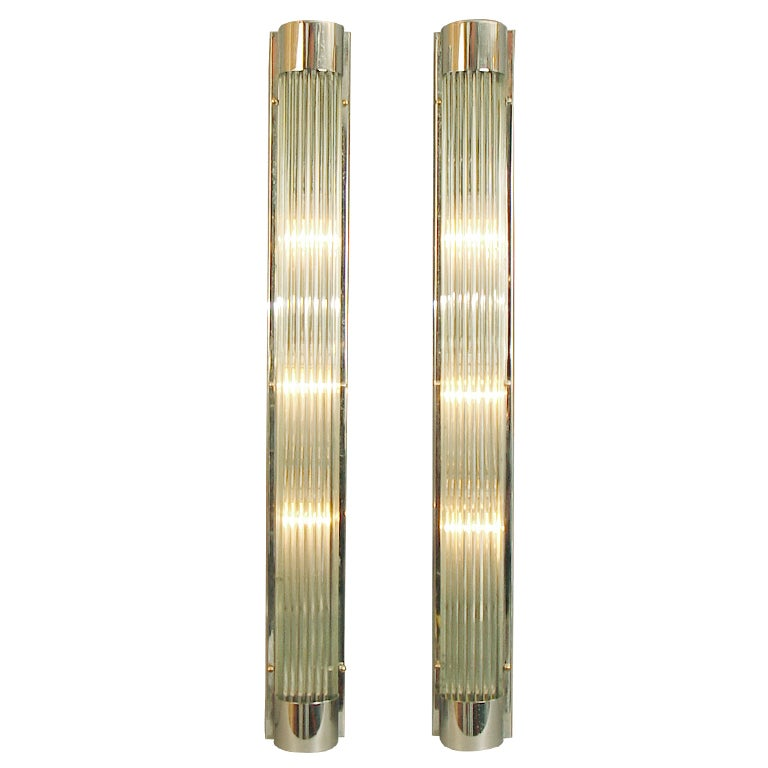 Wall Sconces With Glass : Huge American Art Deco/Modernist Glass Rod Wall Sconces at 1stdibs