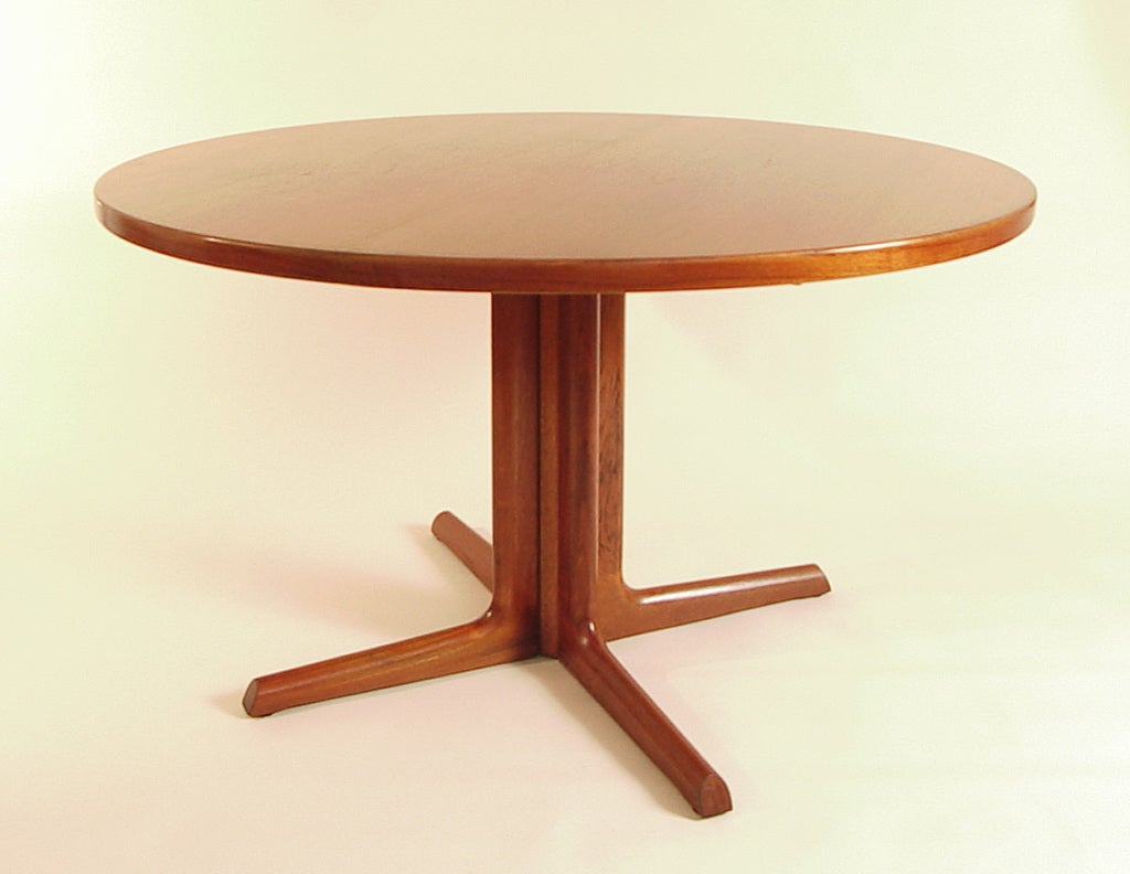 mid century danish teak round 48 dining table refinished at 1stdibs. Black Bedroom Furniture Sets. Home Design Ideas