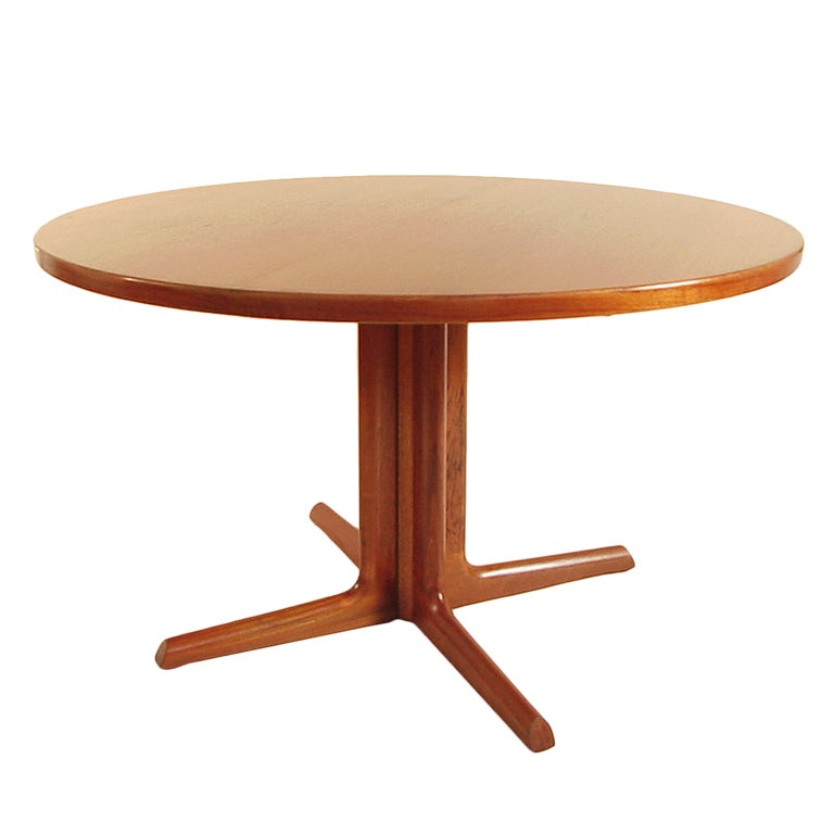 mid century danish teak round 48 dining table refinished at 1stdibs