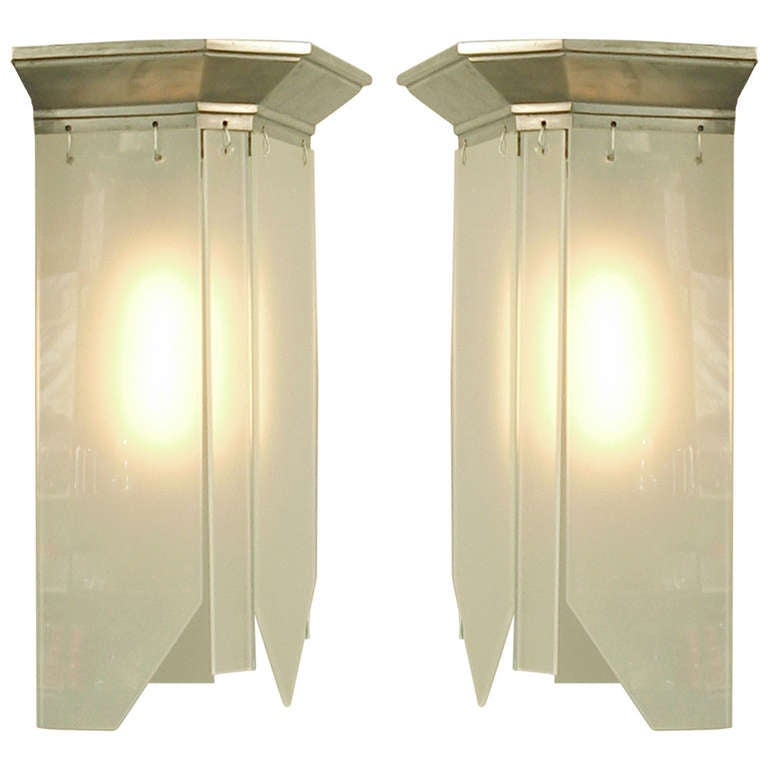 Art Deco Wall Panels: French Art Deco Wall Sconces With Dangling Frosted Glass