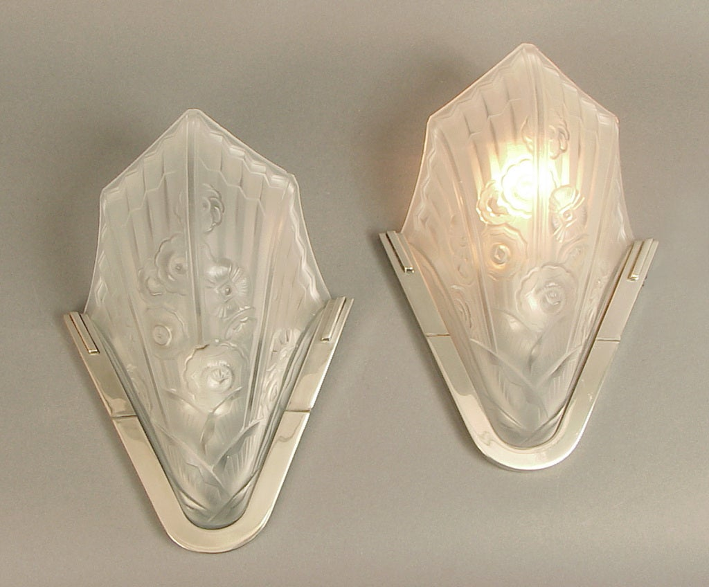 French Art Deco Wall Sconces : French Art Deco Wall Sconces, Floral Geometric Stylized Motifs, Probably Robert at 1stdibs