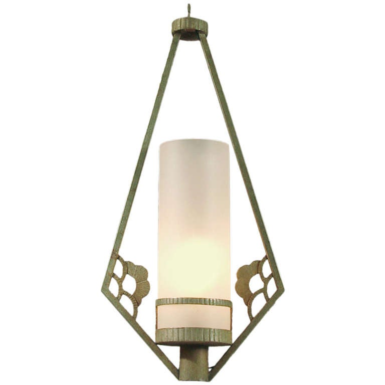 Art Deco Foyer Lighting : French art deco verdigris wrought iron entryway or outdoor
