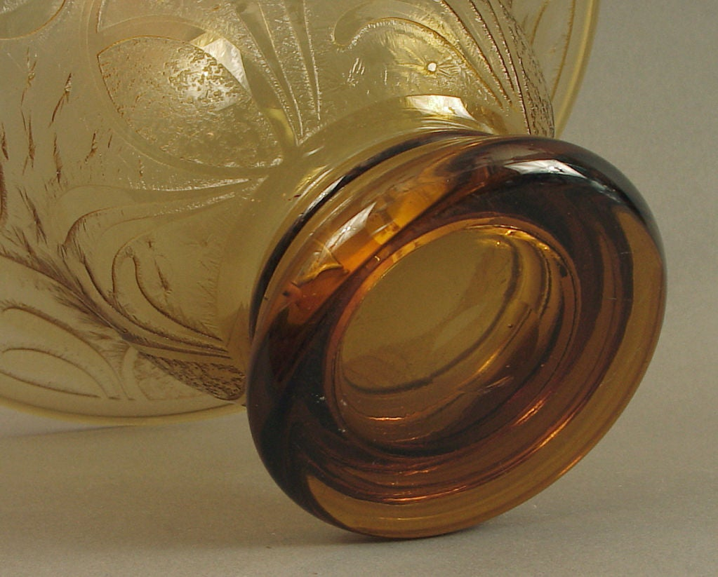 Large Etched Amber Glass Bowl Or Vase French Art Deco At