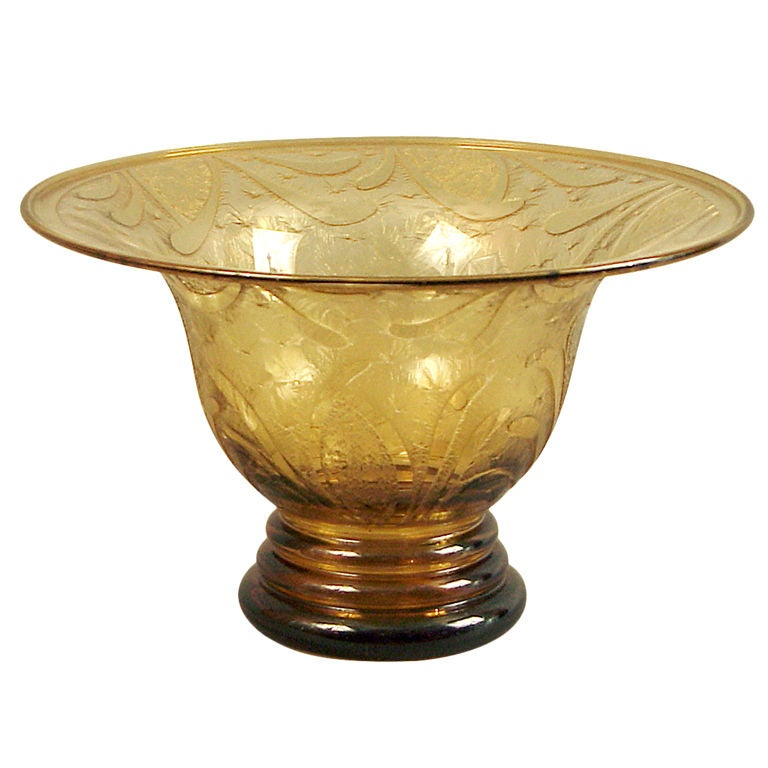 large etched glass bowl or vase deco at 1stdibs