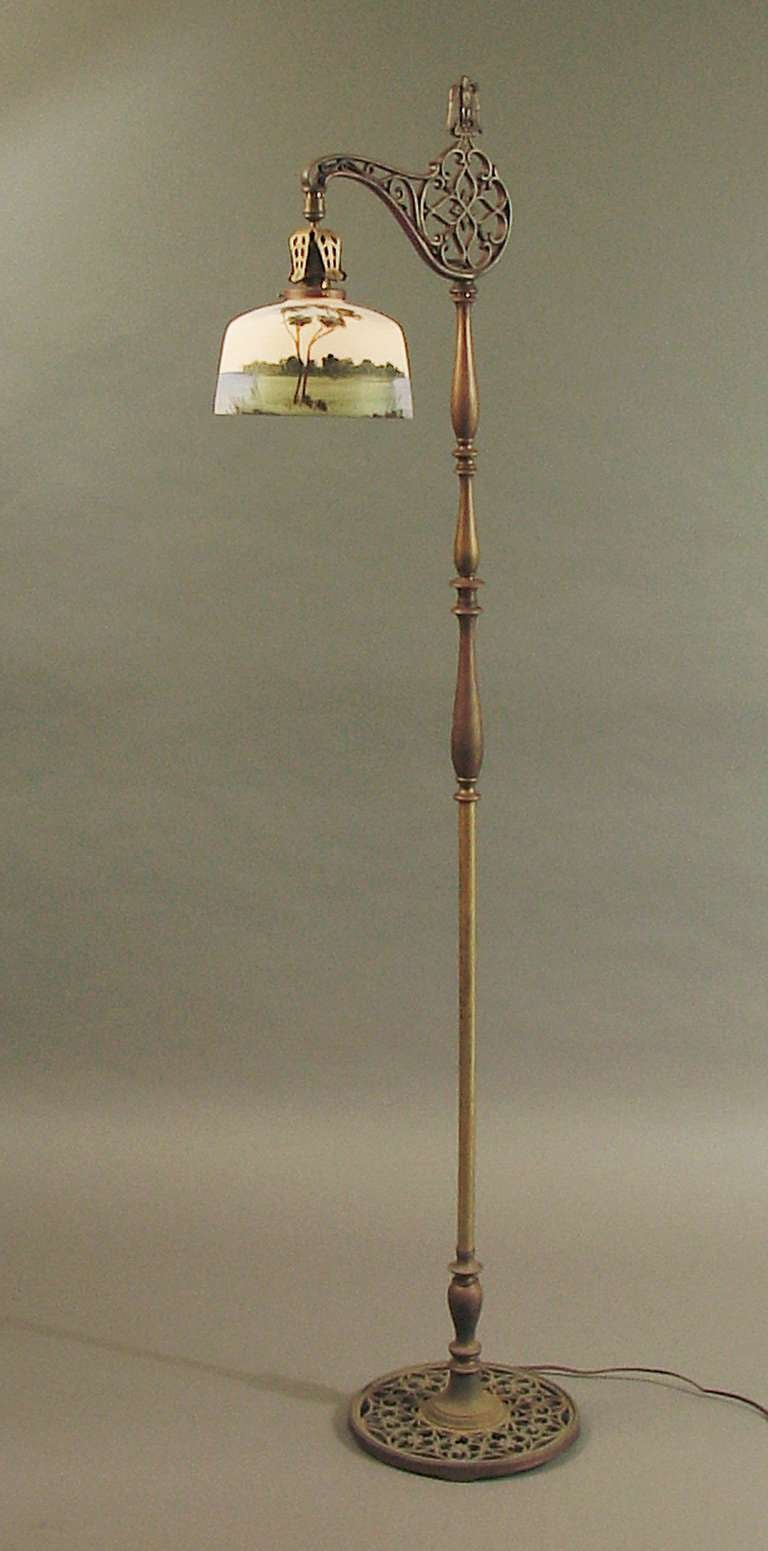 Brass bridge floor lamp with hand painted scenic glass for Antique floor lamp manufacturers