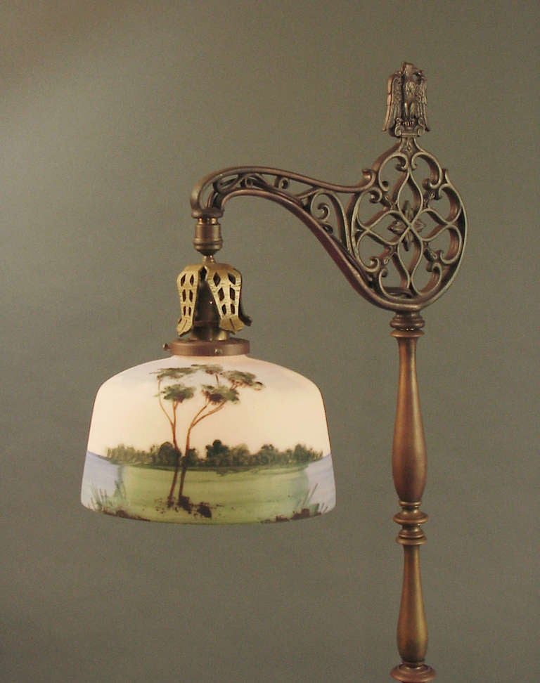 bridge floor lamp with hand painted scenic glass shade at 1stdibs. Black Bedroom Furniture Sets. Home Design Ideas