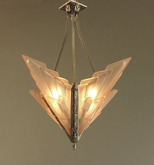 French Art Deco Degue Chandelier with Geometric Peach Glass thumbnail 2