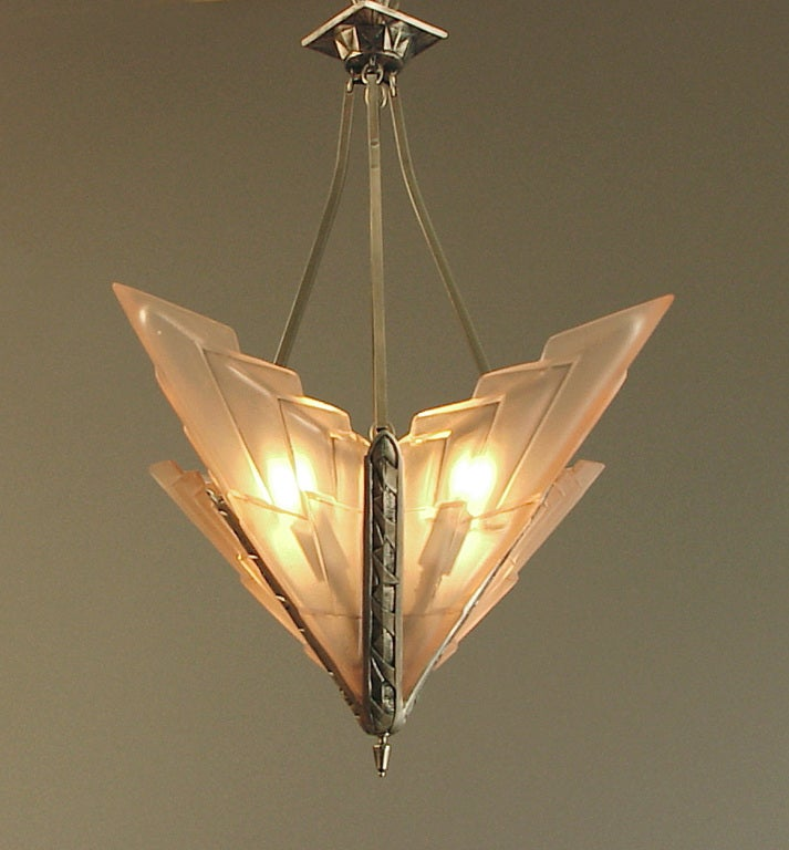 French Art Deco Degue Chandelier with Geometric Peach Glass image 2