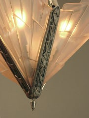 French Art Deco Degue Chandelier with Geometric Peach Glass thumbnail 3