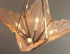 French Art Deco Degue Chandelier with Geometric Peach Glass thumbnail 6