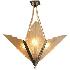 French Art Deco Degue Chandelier with Geometric Peach Glass thumbnail 1