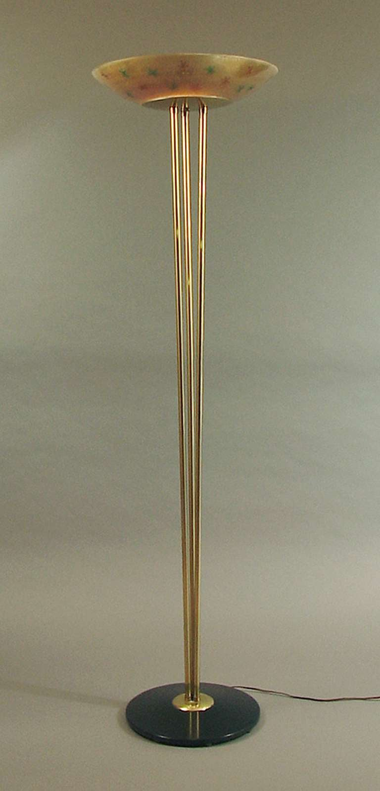 Mid century torchiere floor lamp with cool decorated glass for Torchiere floor lamp with glass shades