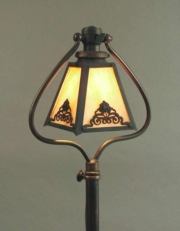 Bradley and Hubbard Telescoping 1910 Harp Floor Lamp, Slag ...