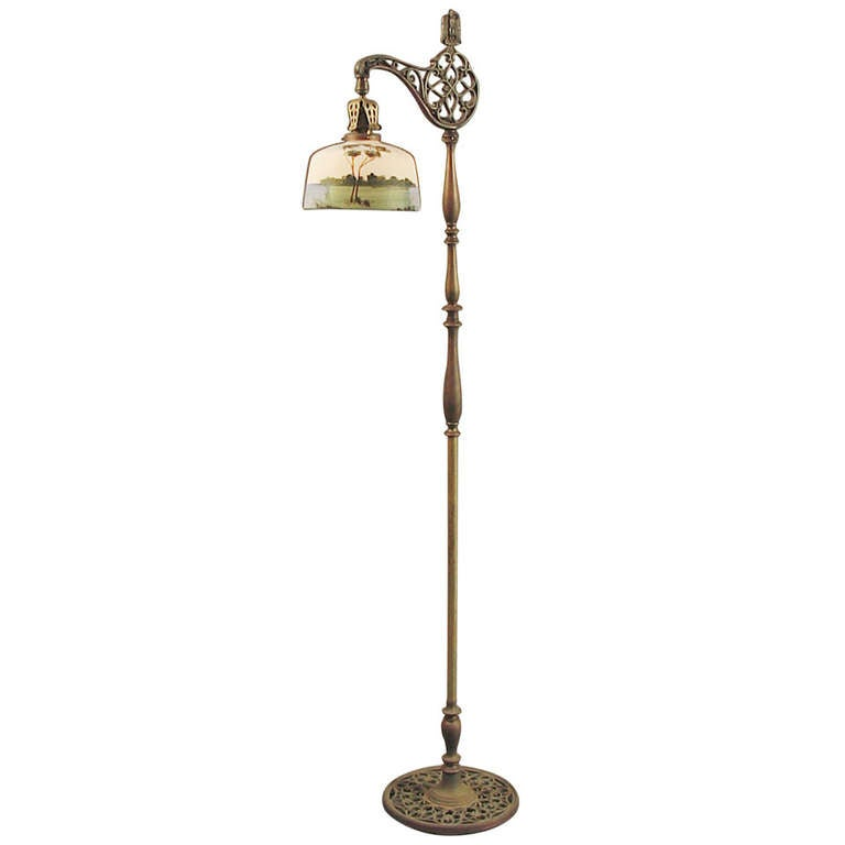 brass bridge floor lamp with hand painted scenic glass. Black Bedroom Furniture Sets. Home Design Ideas