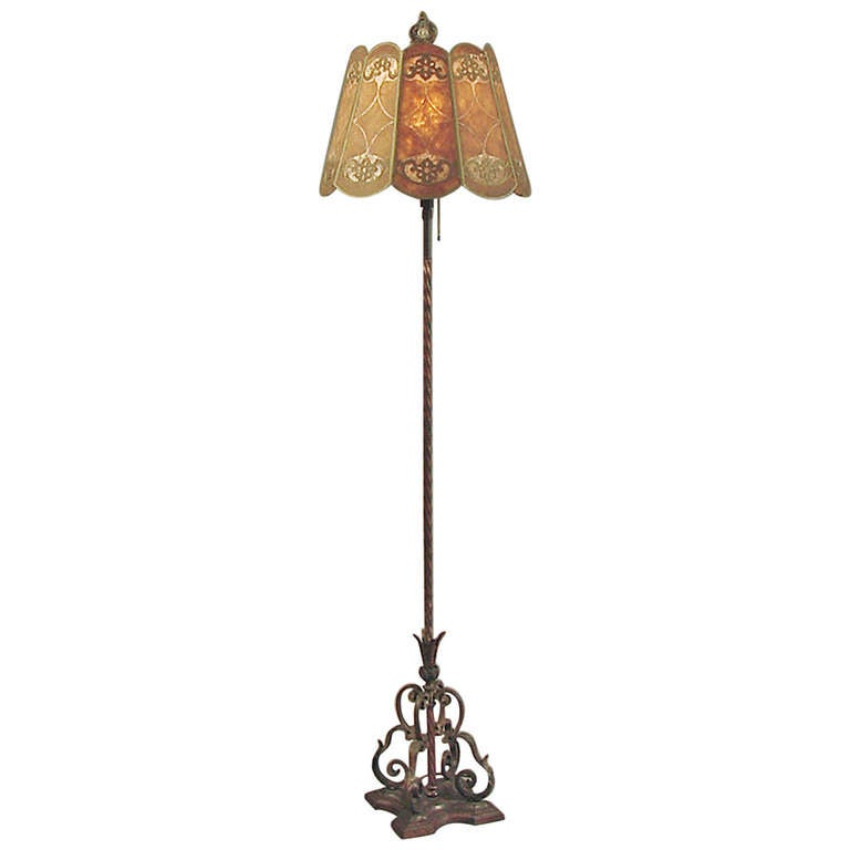 1910 Vintage 10 Panel Mica Shaded Wrought Iron Floor Lamp