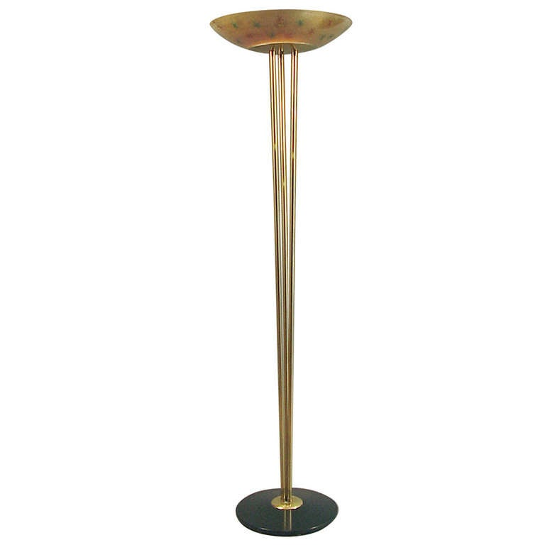 Mid Century Torchiere Floor Lamp With Cool Decorated Glass