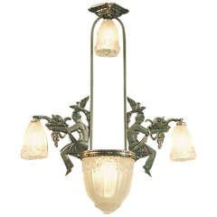 Art Deco Modernist French Tubular Glass Chrome Chandelier