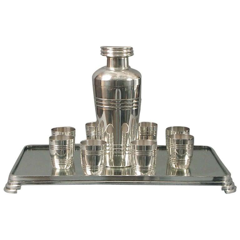 Elegant Modernist Art Deco Silver Plated St Medard