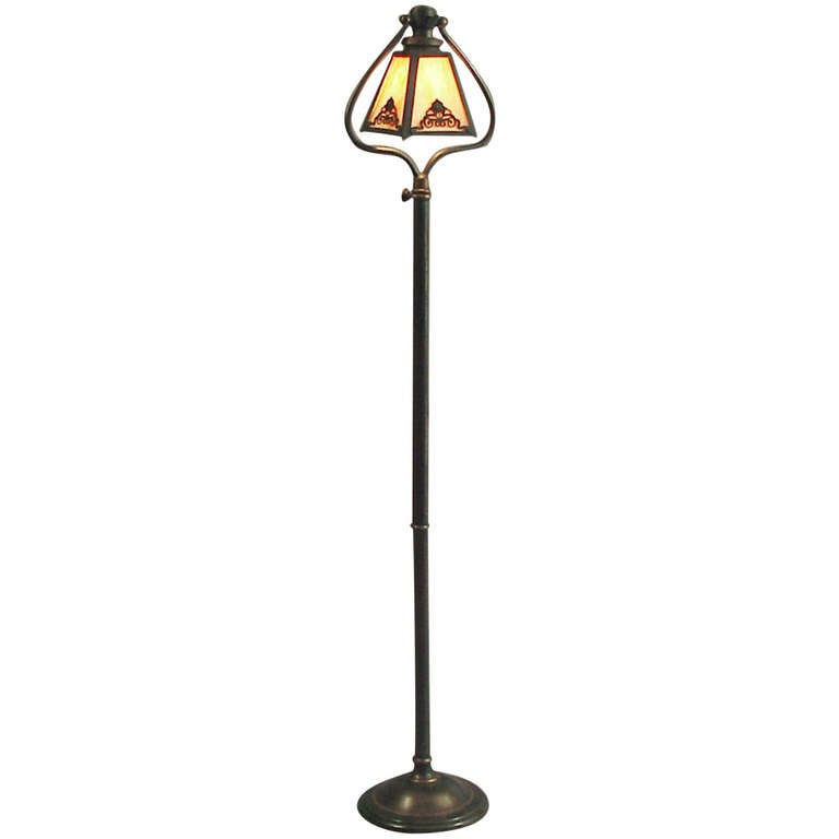Bradley And Hubbard Telescoping 1910 Harp Floor Lamp Slag
