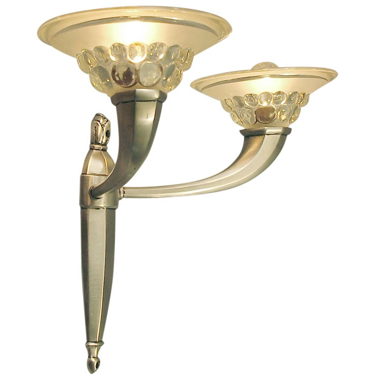French Art Deco Wall Sconces by Boretti de Lyon, Amazing Glass! at 1stdibs