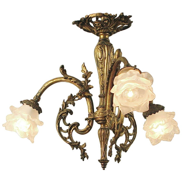Gilt finished french art nouveau chandelier ceiling for Chandelier art nouveau