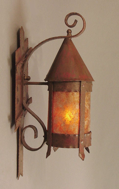Mission Arts And Crafts Outdoor Wall Sconce With Mica Inserts At 1stdibs